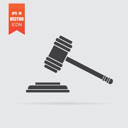 Hammer judge icon in flat style isolated on grey background. For your design, Vector illustration.  イラスト・ベクター素材