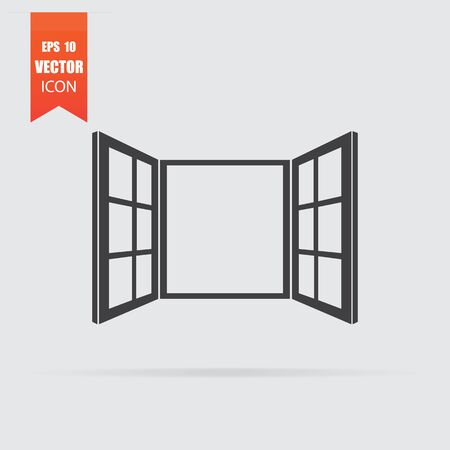 Open window icon in flat style isolated on grey background. For your design, Vector illustration. Vector Illustratie
