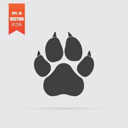 Paw icon in flat style isolated on grey background. For your design, Vector illustration.