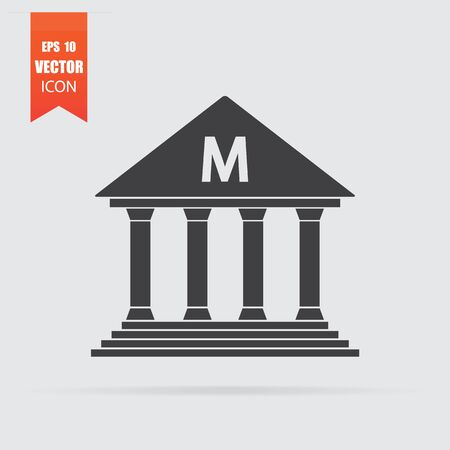 Museum icon in flat style isolated on grey background. For your design, Vector illustration.