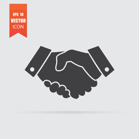 Handshake icon in flat style isolated on grey background. For your design, Vector illustration.
