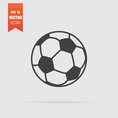 Soccer ball icon in flat style isolated on grey background. For your design, Vector illustration. Ilustração