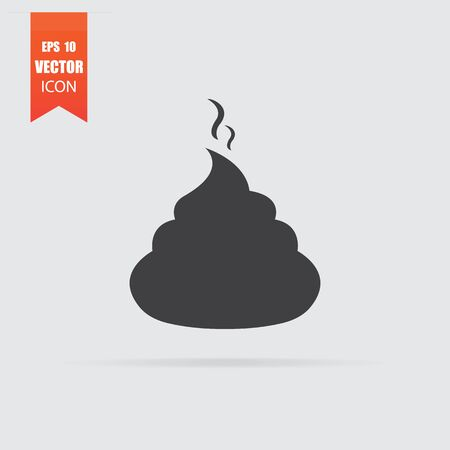 Shit icon in flat style isolated on grey background. For your design, Vector illustration. Stock Illustratie