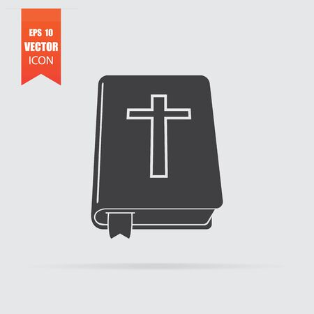 Bible icon in flat style isolated on grey background. For your design. Vector illustration.