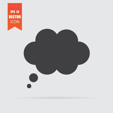 Speech bubble icon in flat style isolated on grey background. For your design, logo. Vector illustration. Çizim