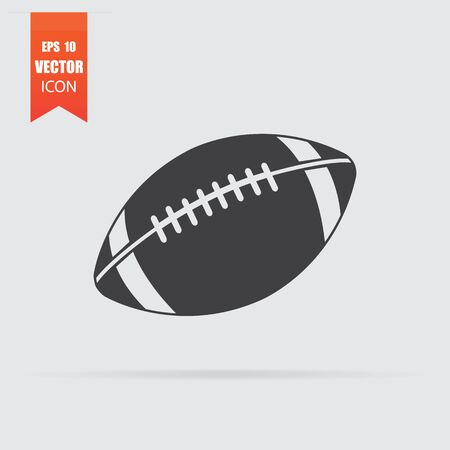 American football ball icon in flat style isolated on grey background. For your design. Vector illustration. Archivio Fotografico - 129495282