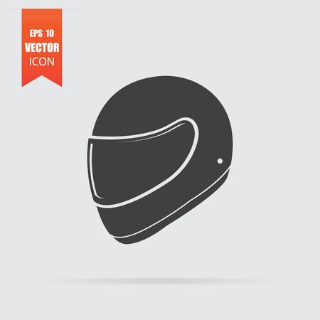 Motorcycle helmet icon in flat style isolated on grey background. For your design. Vector illustration. Ilustração