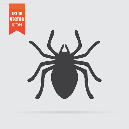 Spider icon in flat style isolated on grey background. For your design. Vector illustration.