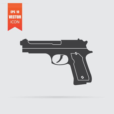 Gun icon in flat style isolated on grey background. For your design. Vector illustration. Illusztráció