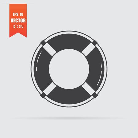 Lifebuoy icon in flat style isolated on grey background. For your design, logo. Vector illustration.