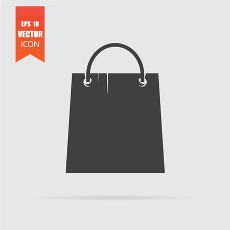 Shopping bag icon in flat style isolated on grey background. For your design, logo. Vector illustration. Stok Fotoğraf - 129996039