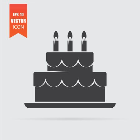 Cake icon in flat style isolated on grey background. For your design, logo. Vector illustration.