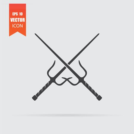 Sai weapon icon in flat style isolated on grey background. For your design, logo. Vector illustration.  イラスト・ベクター素材