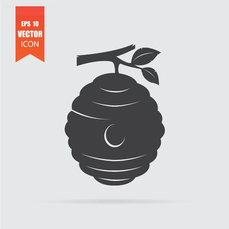 Beehive icon in flat style isolated on grey background. For your design, logo. Vector illustration. Çizim