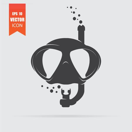 Diving mask icon in flat style isolated on grey background. For your design, logo. Vector illustration. Иллюстрация