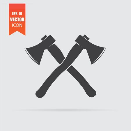 Lumberjack axes crossed icon in flat style isolated on grey background.