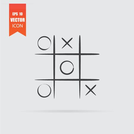 Tic tac toe icon in flat style isolated on grey background. For your design, logo. Vector illustration.  イラスト・ベクター素材
