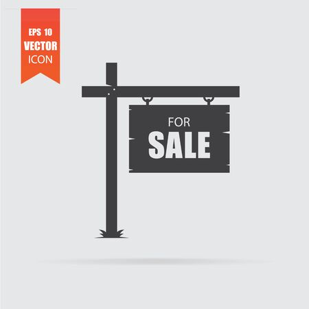 Sale icon in flat style isolated on grey background. For your design, logo. Vector illustration.