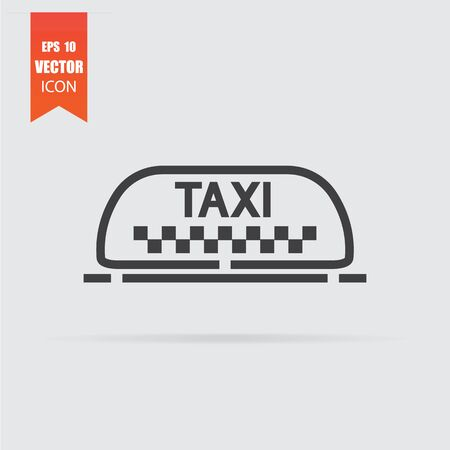 Taxi icon in flat style isolated on grey background. For your design, logo. Vector illustration.