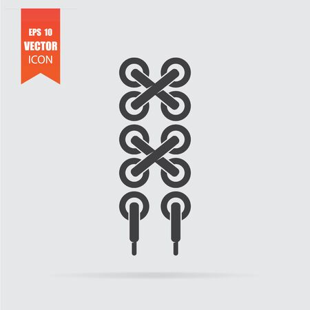 Shoelace icon in flat style isolated on grey background. For your design, logo. Vector illustration.