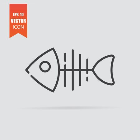 Fish bone icon in flat style isolated on grey background. For your design. Vector illustration.