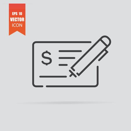 Money check icon in flat style isolated on grey background. Illustration