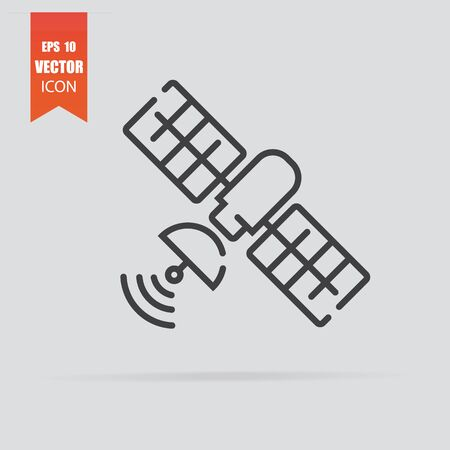 Satellite icon in flat style isolated on grey background. For your design. Vector illustration.