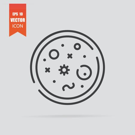 Bacteria icon in flat style isolated on grey background. For your design, logo. Vector illustration.