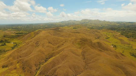 Aerial view Beautiful hilly mountains landscape. Big hills on a tropical island Bohol , Philippines. Travel concept. Stock Photo