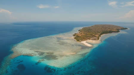 Aerial view tropical island Menjanga with white sand beach. Coral reef, atoll on Menjangan, colorful reef and perfect snorkeling and scuba diving. Seascape, ocean and beautiful beach paradise. Travel concept. 스톡 콘텐츠