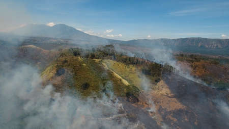 Aerial view forest fire on the slopes of hills and mountains. Forest and tropical jungle deforestation for human food farming and export.  Jawa island, Indonesia.