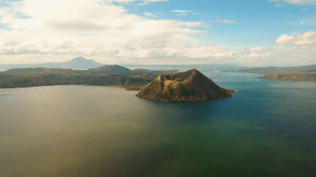 Aerial view Taal Volcano on Luzon Island North of Manila in Philippines. Volcano with a crater on an island in the middle of a lake. Luzon, Philippines. Travel concept. Stock fotó