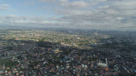 Aerial view of Manila city with skyscrapers and buildings. Philippines, Luzon. Aerial skyline of Manila. Stock Photo