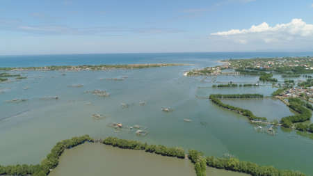 Town in cultivated mangroves, Ubagan, sto tomas. Fish farm with cages for fish and shrimp in the Philippines, Luzon. Aerial view of fish ponds for bangus, milkfish. Fish cage for tilapia, milkfish farming aquaculture or pisciculture practices.