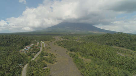 Aerial view of mount Mayon volcano, the most active in Philippines. Mount Mayon vulcano near Legazpi city.