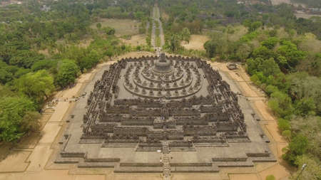 aerial view buddist temple Borobudur complex in Yogjakarta Java, indonesia. tourist attraction, Unesco world heritage. Candi Borobudur