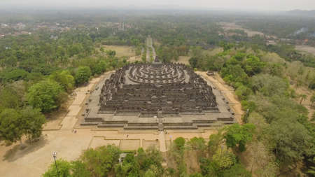 aerial view buddist temple Borobudur complex in Yogjakarta Java, indonesia. Stock Photo
