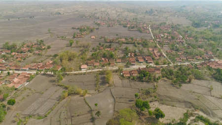 agricultural land in rural areas with village, farmlands, fields with crops, trees in arid hilly terrain. aerial view growing crops in asia in hilly areas Indonesia. Standard-Bild - 115258418