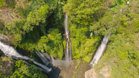 waterfall in green rainforest. Aerial view triple tropical waterfall Sekumpul in mountain jungle. Bali,Indonesia. Travel concept. Standard-Bild - 115258480