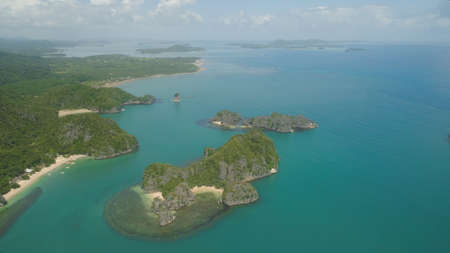 Aerial view of Groups islands with sand beach and turquoise water Stock Photo