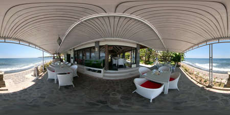 vr 360 restaurant by sea in tropical resort, travel concept