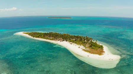Tropical island Canimeran with sandy beach in the blue sea with coral reef, top view. Summer and travel vacation concept. Balabac, Palawan, Philippines. 版權商用圖片