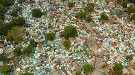 The northern cemetery in Manila from above, a tourist place where local poor people live among the graves. Travel concept. Stok Fotoğraf