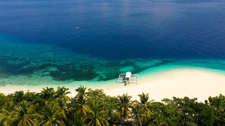 Tropical island with a beach and palm trees. Beautiful lagoon and white sandy beach, aerial view. Mahaba Island, Philippines. advertising concept Stock Photo