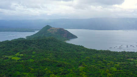 Taal is an active volcano with crater lake in the Philippines, a popular tourist attraction in the country. Tagaytay, Philippines.