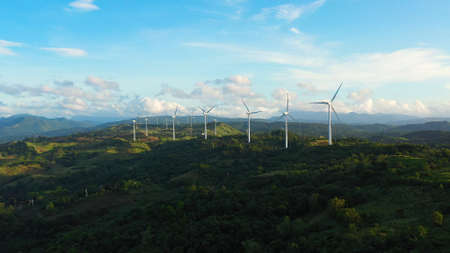 Wind turbines in the mountains. Wind mills for electric power production in the Philippines, Luzon.