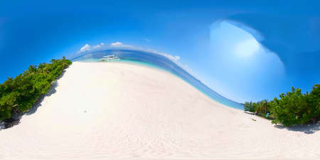 Beautiful beach and tropical island with palm trees. 360 VR. Philippines. Summer and travel vacation concept.