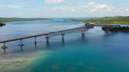 San Juanico Bridge, longest bridge in the Philippines. Landscape with a large bridge over the strait.