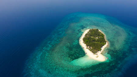 Tropical island on a coral reef, top view. Beautiful white sandy beach for tourists.Digyo Island, Philippines. Summer vacation and tropical beach concept. Zdjęcie Seryjne