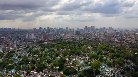 Manila North Cemetery and Makati City is one of the most developed business district of Metro Manila and the entire Philippines. Travel vacation concept Zdjęcie Seryjne